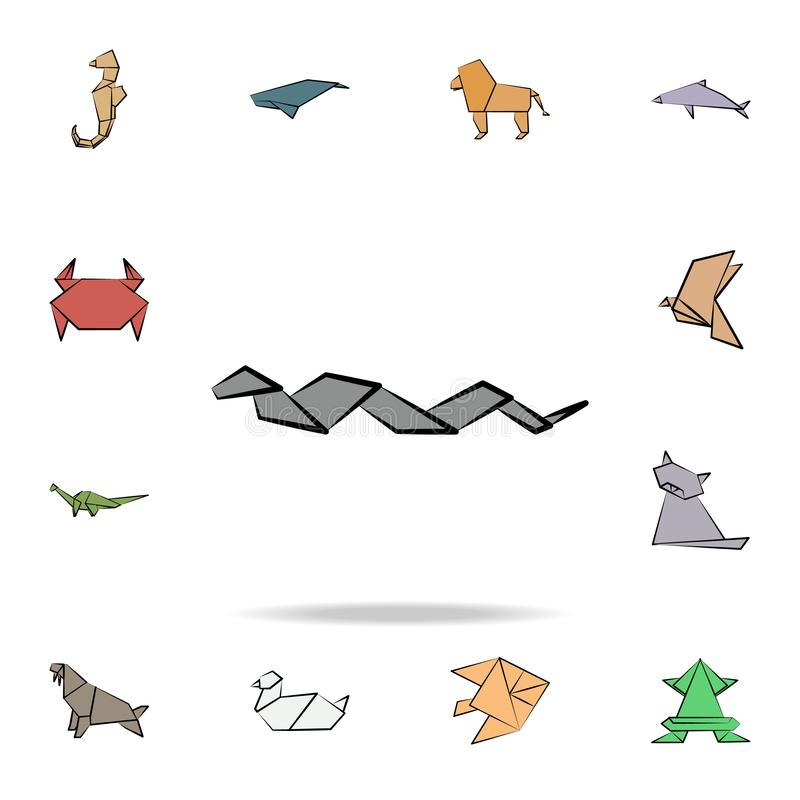 Snake colored origami icon. Detailed set of origami animal in hand drawn style icons. Premium graphic design. One of the. Collection icons for websites, web royalty free illustration
