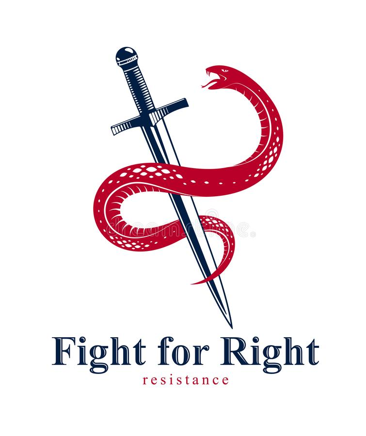Snake and Dagger, Serpent wraps around a sword vector vintage tattoo, Life is a Fight concept, allegorical logo or emblem of. Ancient symbol stock illustration