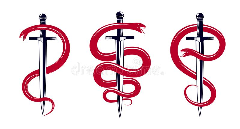 Snake and Dagger, Serpent wraps around a sword vector vintage tattoo, Roman god Mercury, luck and trickery, allegorical logo or. Emblem of ancient symbol vector illustration