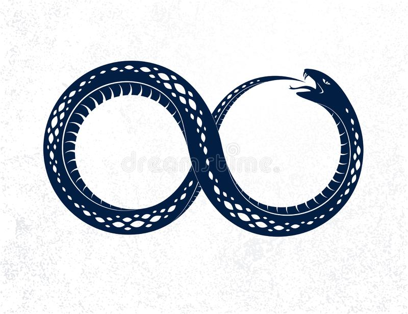 Snake eating its own tale, Uroboros Snake in a shape of infinity symbol, endless cycle of life and death, Ouroboros ancient symbol. Vector illustration logo royalty free illustration