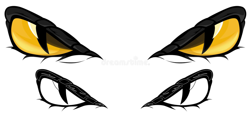 Snake eyes vector. Serpent eyes over white illustration stock illustration
