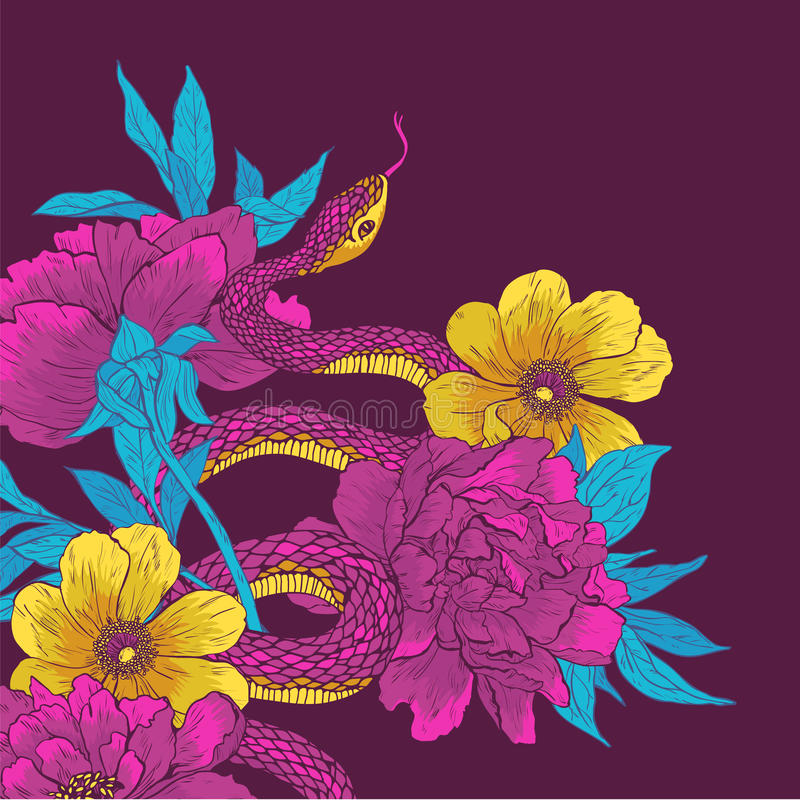 Snake and flowers. Vector illustration. Hand drawn shake with flowers stock illustration