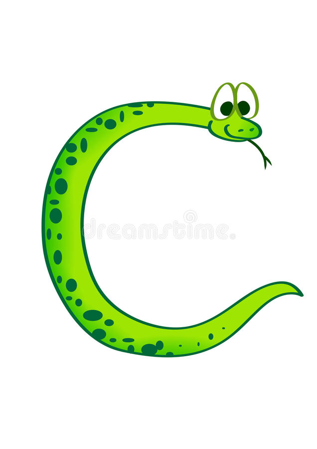 Snake in the form of the letter C stock images