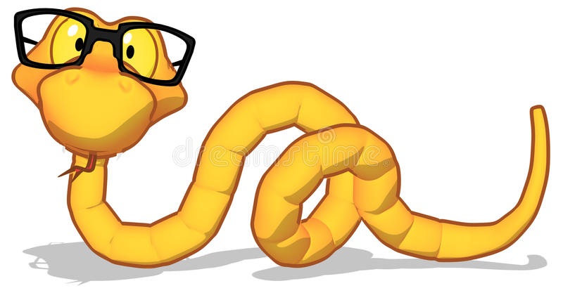 Snake with glasses royalty free illustration