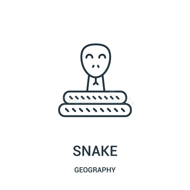 snake icon vector from geography collection. Thin line snake outline icon vector illustration stock illustration