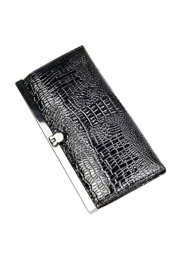 Snake leather ladies clutch-er. Purse isolated on white background royalty free stock photography