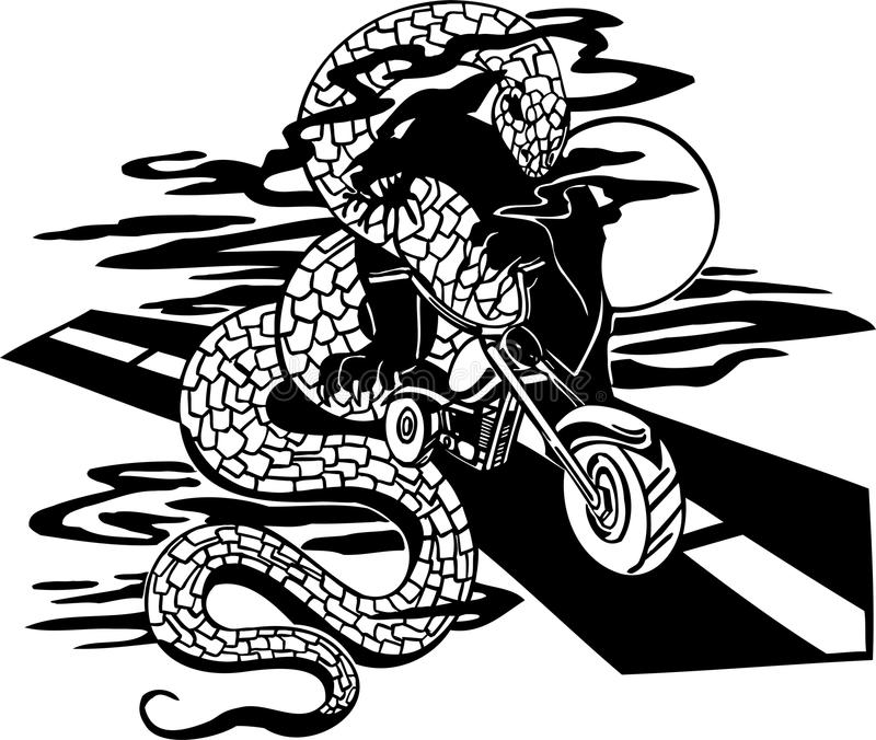 Snake and Motorcycle - Vector illustration. Snake and Motorcycle - Vinyl-ready vector design royalty free illustration