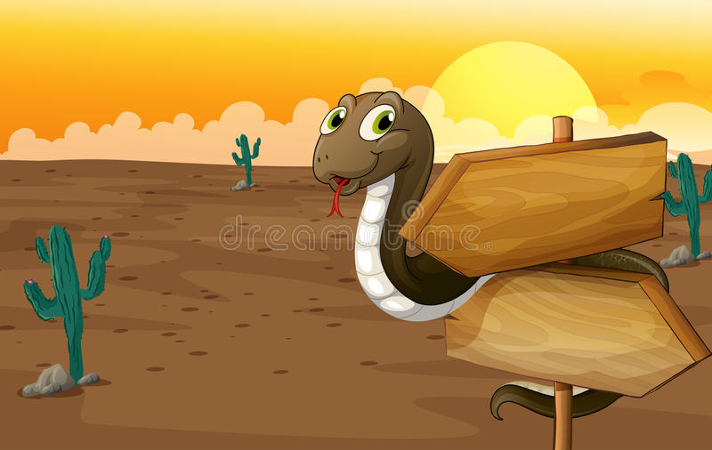 A snake and notice board. Illustration of a snake and notice board in a desert stock illustration