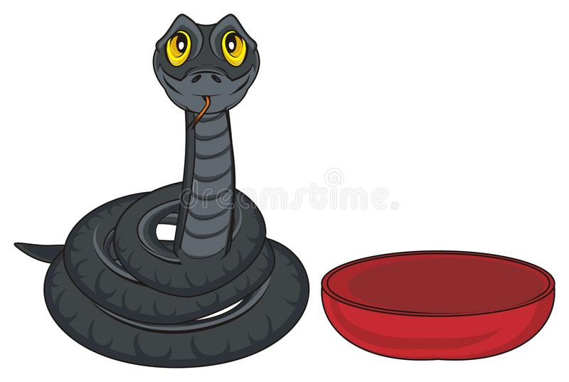 Snake and plate stock image