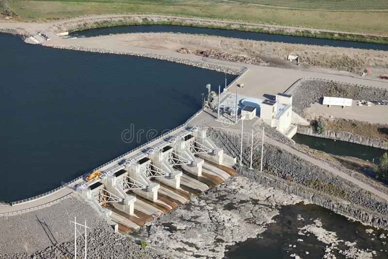 An aerial view of a hydroelectric dam on the snake river in Idaho Falls, Idaho. The lower hydroelectric dam on the Snake River near Idaho Falls, Idaho, USA stock photos