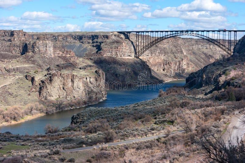 Snake River kanjon på Twin Falls, Idaho arkivfoton