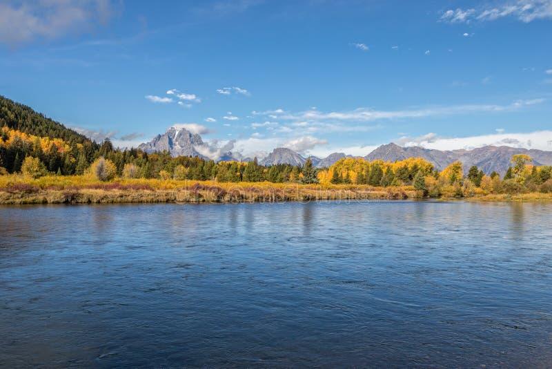 Snake River och Tetons i nedgång arkivfoto