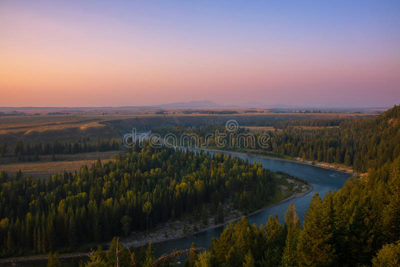 Snake River solnedgång i Wyoming royaltyfri foto