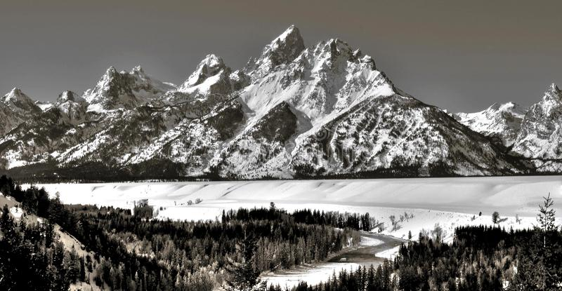 Snake river and Teton Range. Snake River and the Teton mountain range and Rocky Mountains in the winter stock photo