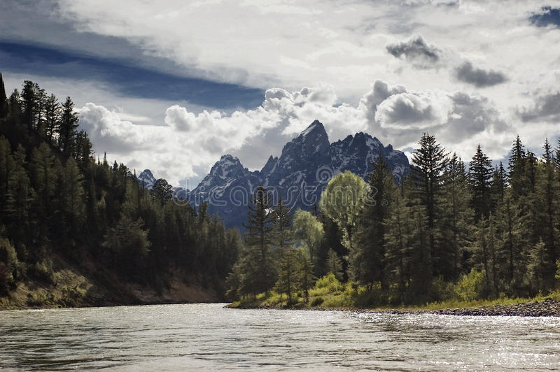 Snake River und Tetons lizenzfreie stockfotos