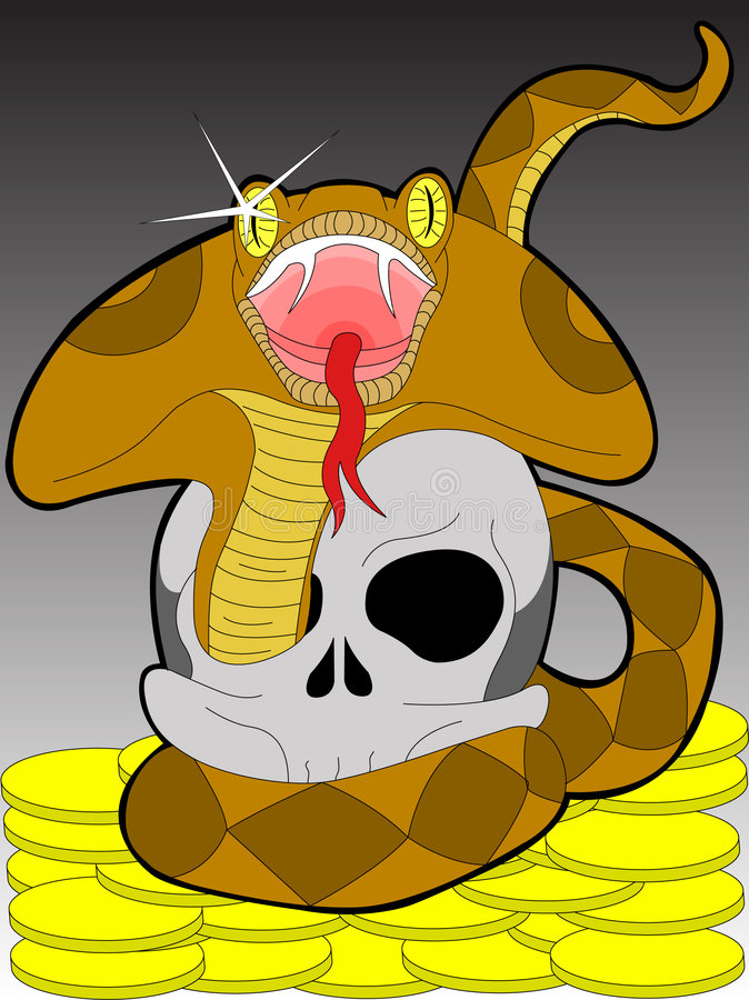 Download Snake and scull stock vector. Image of gold, terrible - 8584395
