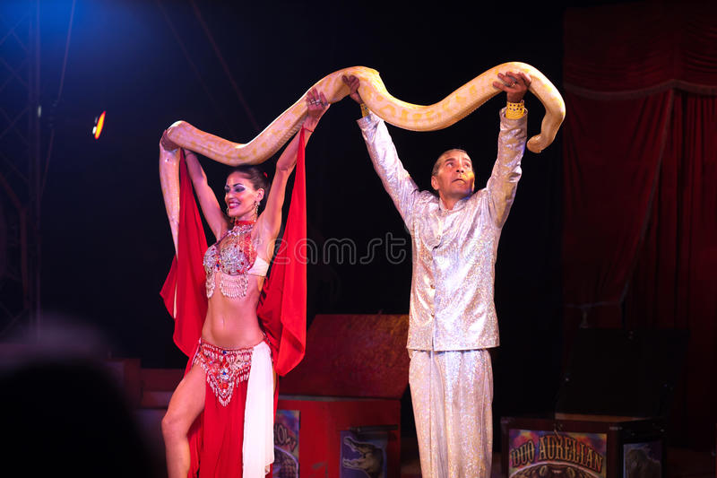 Download Snake show in circus editorial stock image. Image of artist - 23080574