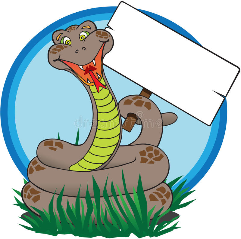 Download Snake with sign stock vector. Image of goofy, reptile - 17066051