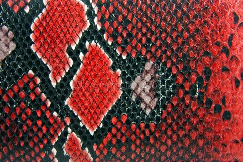 Snake skin background. Red snake skin background close up detail stock photos