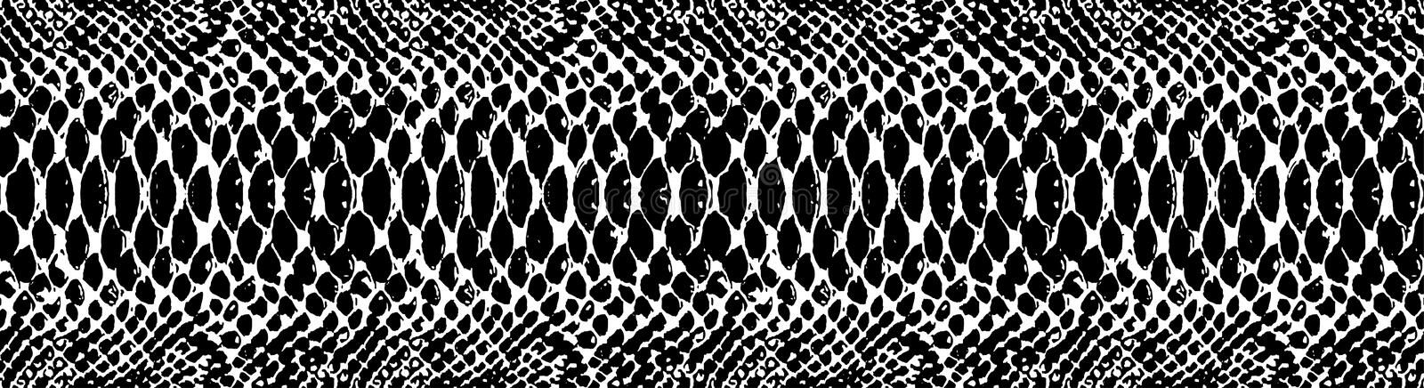 Snake skin pattern texture repeating seamless monochrome black & white. Vector. Texture snake. Fashionable print. Trendy vector background for your design. BW stock illustration
