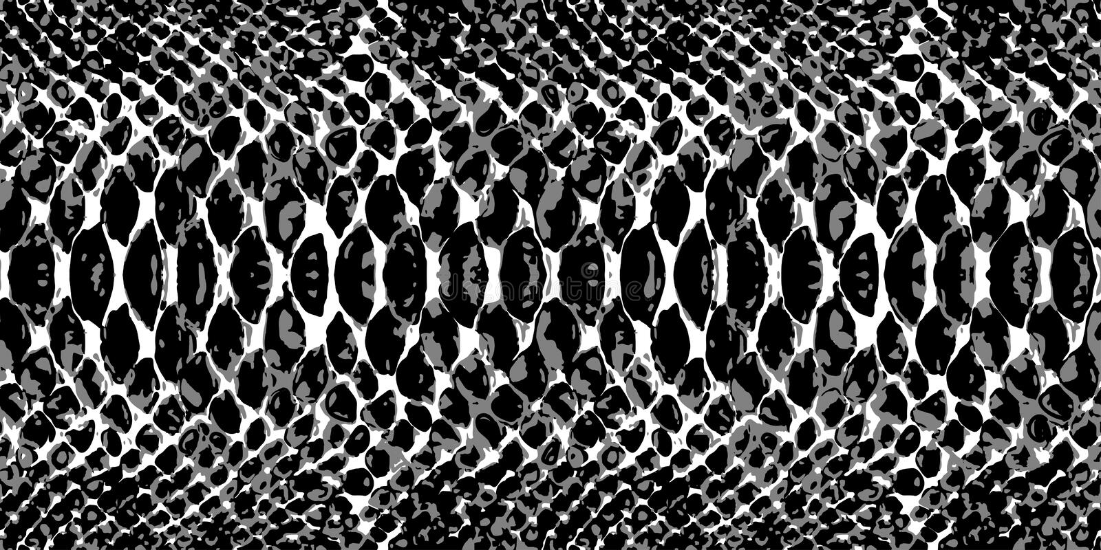 Snake skin pattern texture repeating seamless monochrome black & white. Vector. Texture snake. Fashionable print. Trendy vector background for your design. BW vector illustration