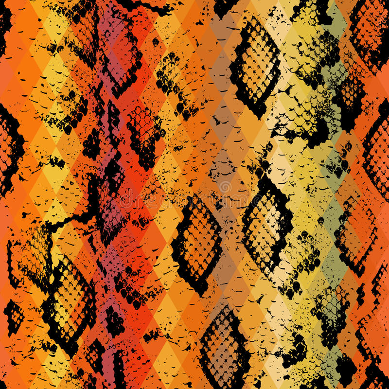 Snake skin texture with colored rhombus. Geometric background. Seamless pattern black brown yellow red background, colorful psych royalty free illustration