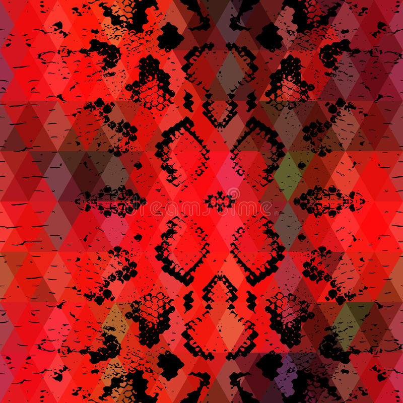 Snake skin texture with colored rhombus. Geometric background. Seamless pattern black red background, colorful psychedelic geomet vector illustration