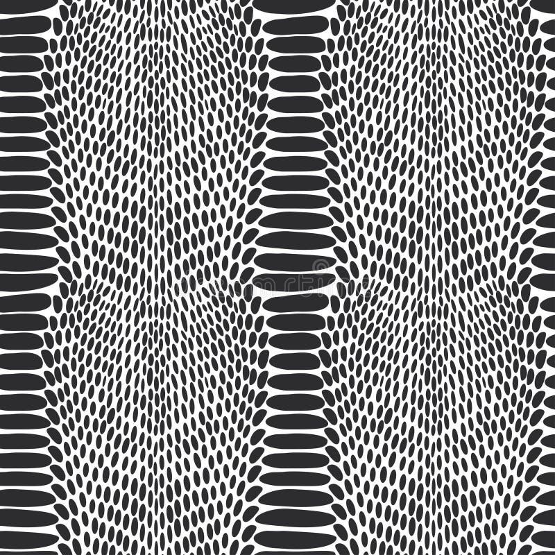 Snake skin texture. Seamless pattern black on white background. royalty free illustration