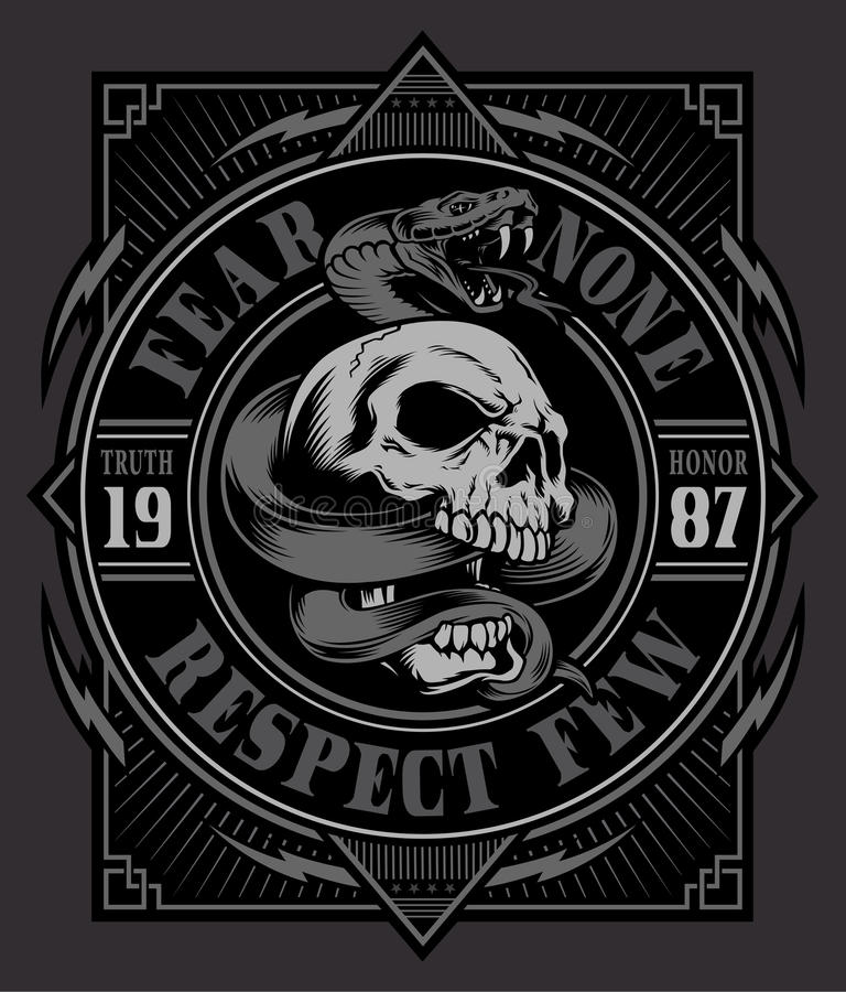 Snake skull t-shirt graphic vector illustration