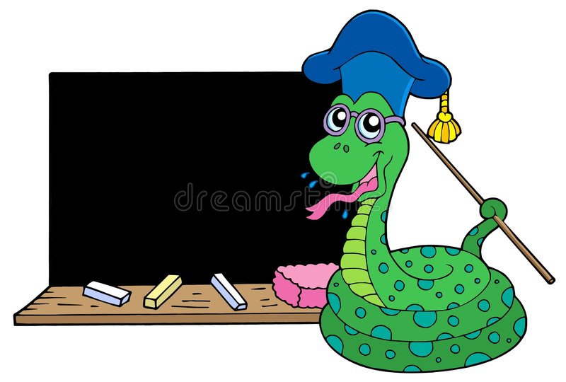 Snake Teacher With Blackboard Stock Images