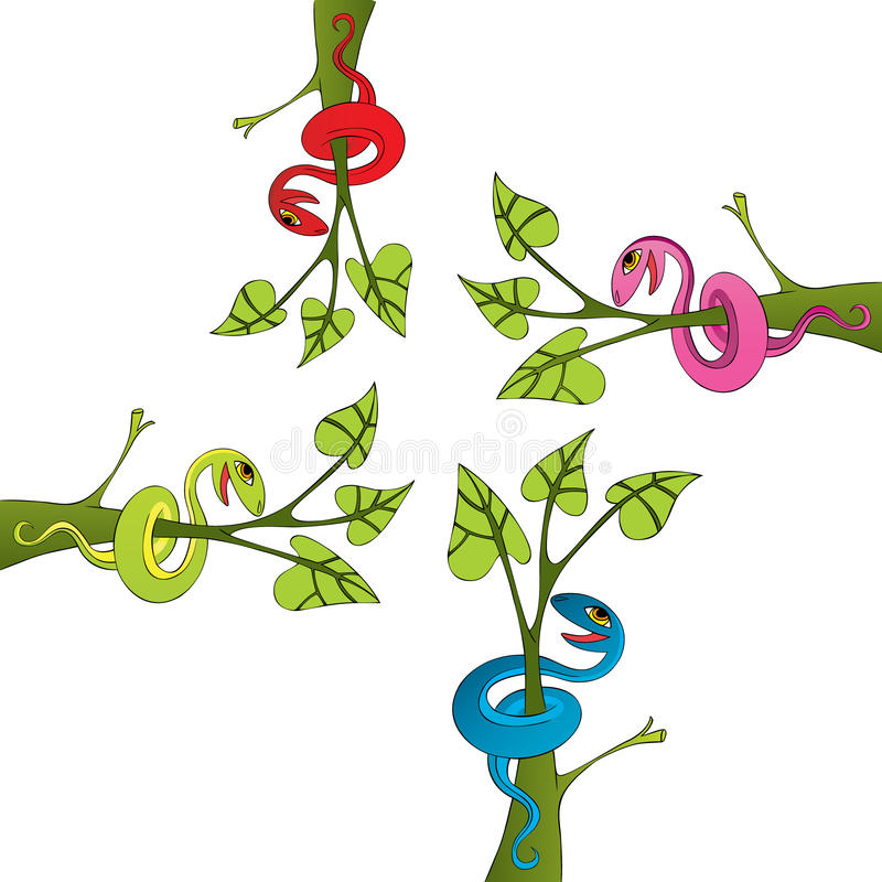 Download Snake And Tree Drawing Vector Stock Illustration - Illustration: 12126964