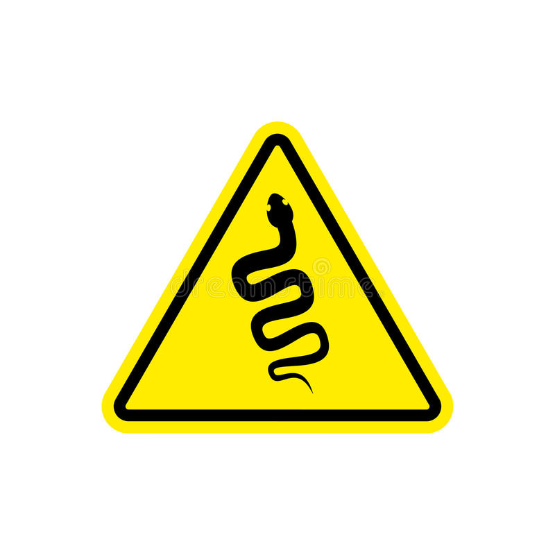 Snake Warning sign yellow. Venomous serpent Hazard attention symbol. Danger road sign triangle reptile royalty free illustration
