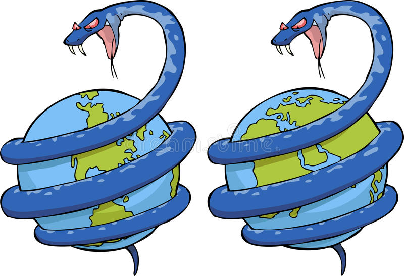 Snake in the world. The snake wound around the globe vector
