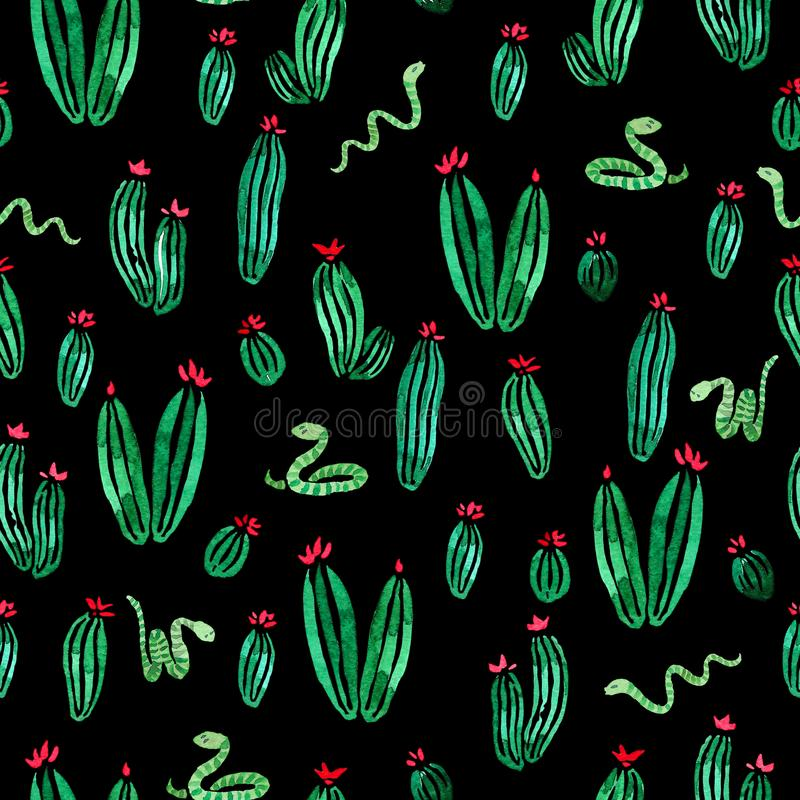 Free Snakes And Cactus Plants With Flowers Watercolor Seamless Surface Pattern On Black Background Royalty Free Stock Photography - 122632197