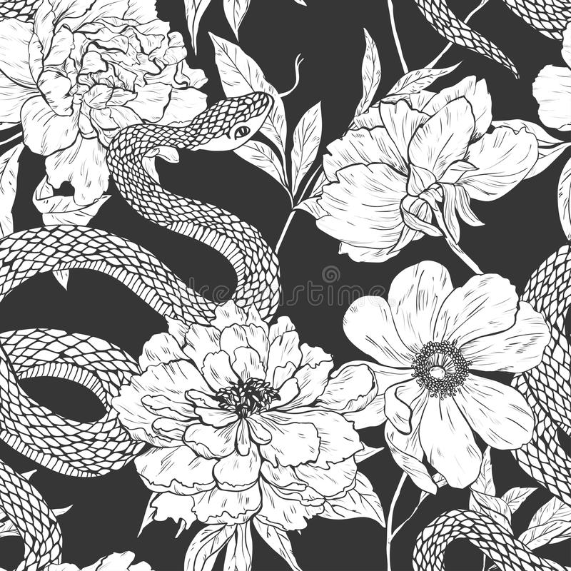 Snakes and flowers seamless pattern. stock photo