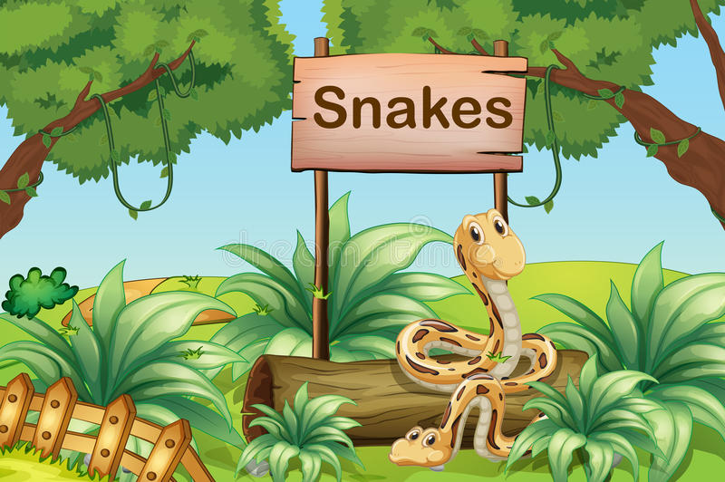 Snakes in the hills beside a wooden signboard. Illustration of the snakes in the hills beside a wooden signboard stock illustration