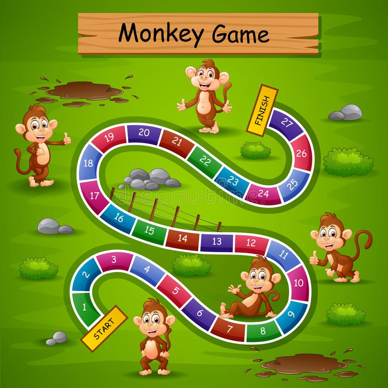 Snakes and ladders game monkey theme vector illustration