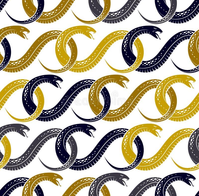 Snakes seamless background, vector dangerous venom serpents pattern, vintage style drawing tiling endless. Wallpaper vector illustration