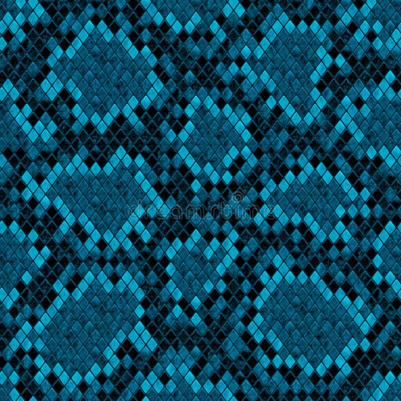 The Texture Of Teal And Turquoise: Snakeskin Seamless Pattern. Dark Teal Turquoise Reptile