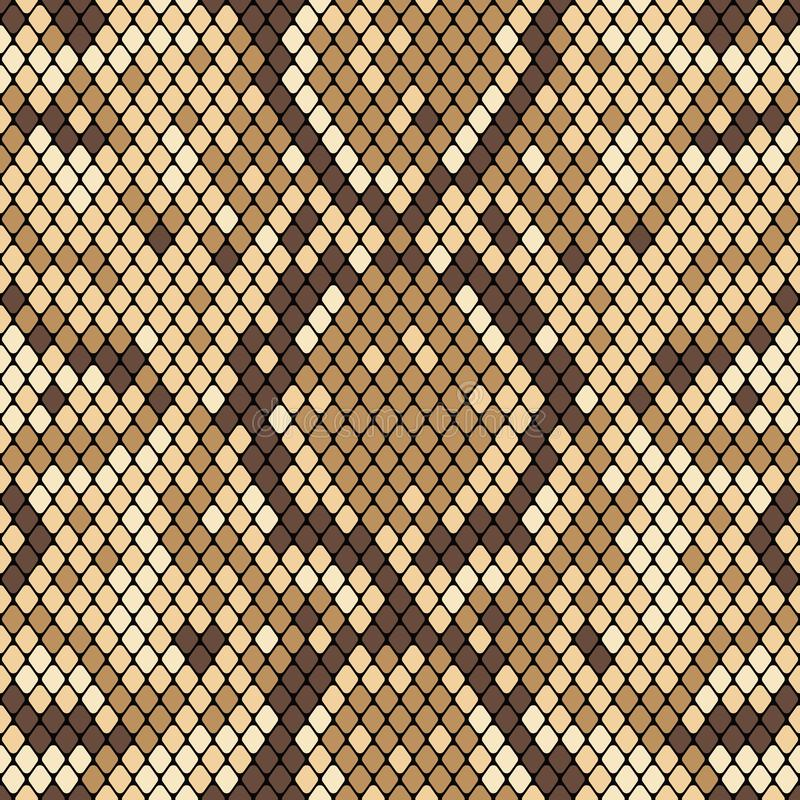 Snakeskin seamless pattern. Realistic texture of snake or another reptile skin. Beige and brown colors. Vector royalty free illustration