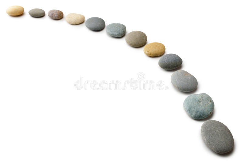 Download Snaking Line Of Twelve Pebbles Steps Isolated Stock Image - Image: 25395519