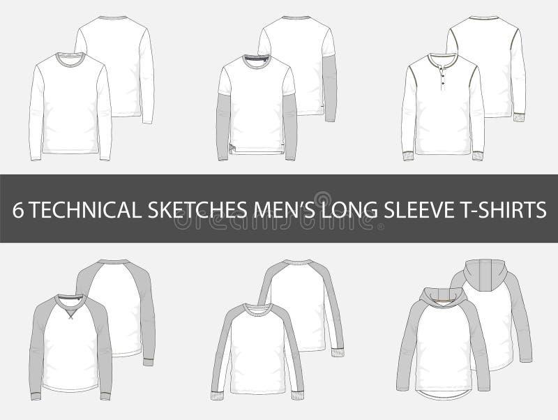 Snakken de manier technische schetsen van mensen ` s Kokert-shirts stock illustratie