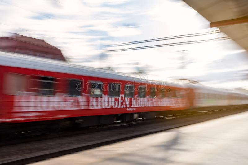 Snalltaget train restaurant car in motion blur royalty free stock images