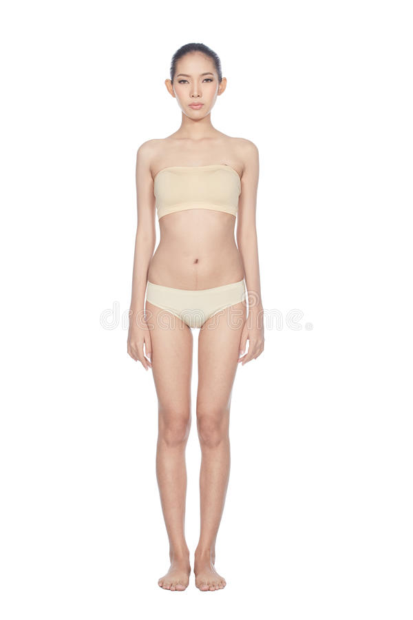 Snap Full Lenght Body Figure Model in skintone color underwear stock images