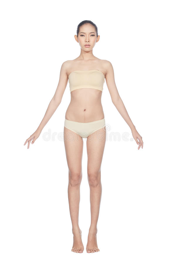 Snap Full Lenght Body Figure Model in skintone color underwear. Bare foots, studio lighting white background isolated royalty free stock image