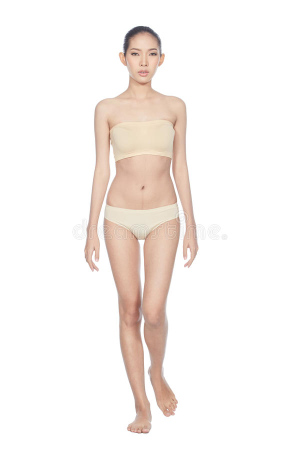Snap Full Lenght Body Figure Model in skintone color underwear. Bare foots, studio lighting white background isolated royalty free stock photography