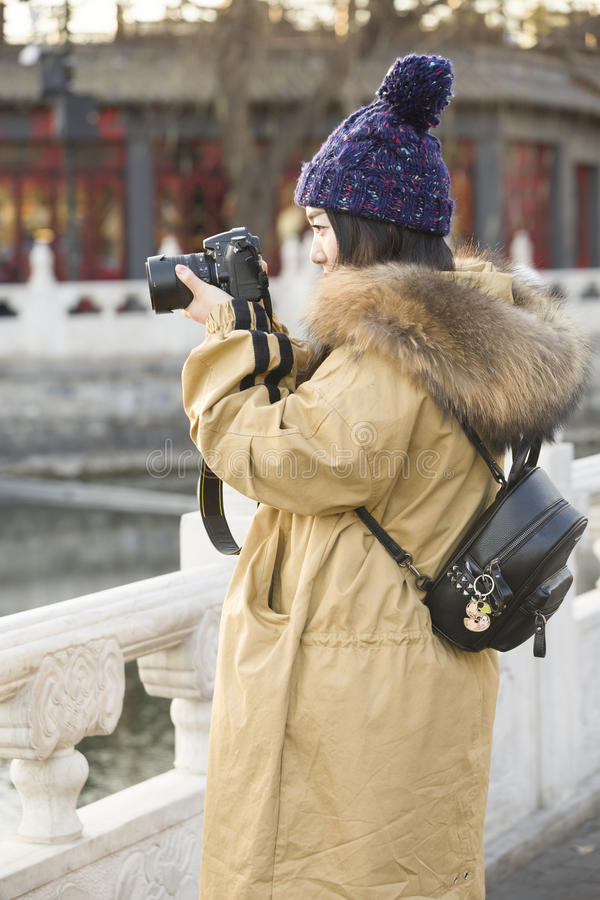 Snap portrait of a miss traveler royalty free stock photo