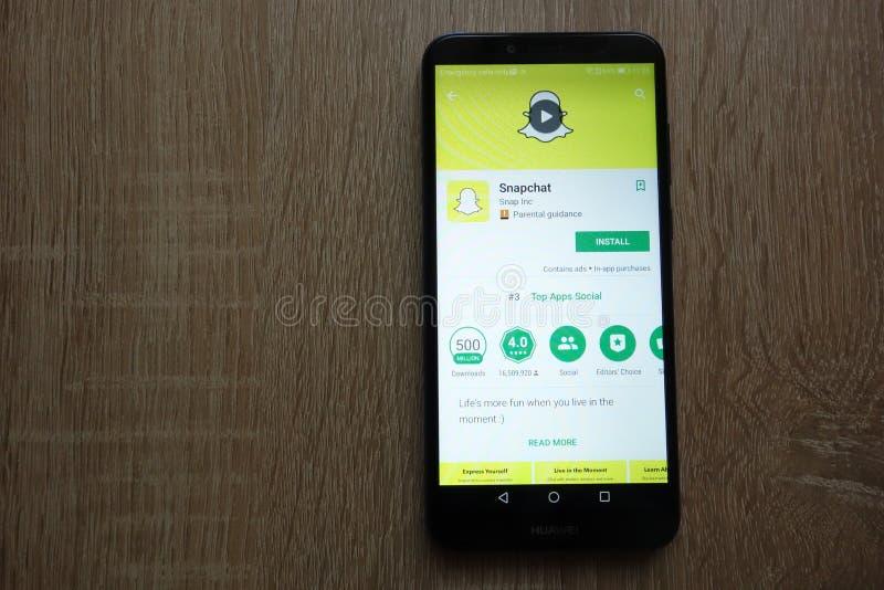 Snapchat app στον ιστοχώρο καταστημάτων παιχνιδιού Google που επιδεικνύεται στο smartphone Huawei στοκ εικόνες