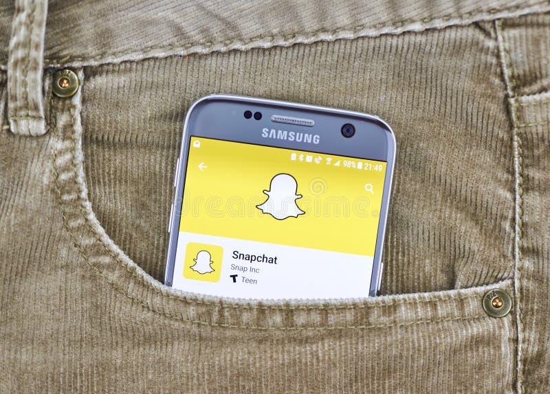 Snapchat app en una pantalla del teléfono móvil fotografía de archivo libre de regalías