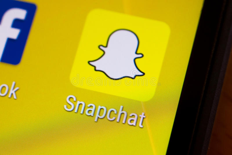 Snapchat application thumbnail logo on an android smartphone. Close-up